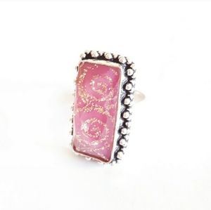 Sterling silver pink dichroic glass ring size 7.5